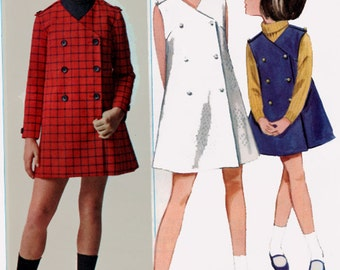 1960s Girls MOD Military Look Double Breasted Coatdress Butterick 4465 60s Vintage Sewing Pattern Size 4  UNCUT