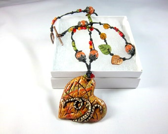 Heart Necklace, Polymer Clay, Boho, Orange, Green, Rust, Knotted Cord, Boho Necklace