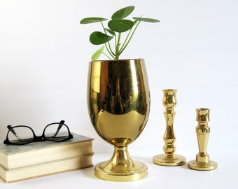 Vintage Brass Pedestal Vase - Polished Brass Planter - Tall Flower Vase - Footed Brass Urn - Brass Home Decor - Wedding Decor Utensil Holder