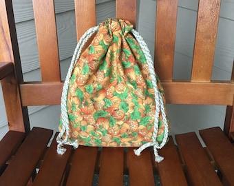 Fabric Halloween Drawstring Candy Bag with Jack O' Lanterns print, 10.5 x 12.5, Free Shipping In USA