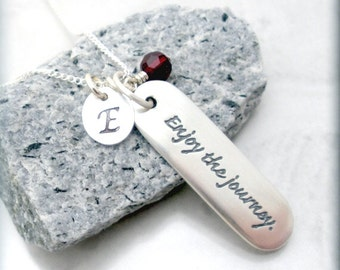 Inspirational Quote Necklace Graduation Gift Enjoy the Journey Travel Jewelry Friendship Necklace Personalized Sterling Silver