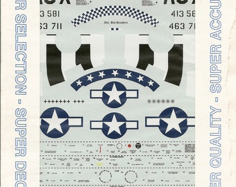 Superscale 48-791 1/48 Scale North American P-51 Mustang Model Airplane Decals with Nose Art