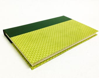 Handmade Journal with Green Triangle Pattern