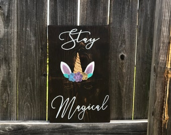 Stay Magical Gold-Horned Zentangle Inspired Unicorn Wood Sign