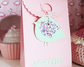 Box themed favors-bird - colors available - custom name
