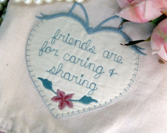 Frilled Tea Towel, Heart Embroidery, Friendship Tea Towel, Guest Room Hand Towel, by mailordervintage on etsy