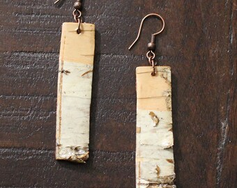 Birch Bark Earrings, Handmade