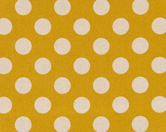 HALF YARD - Cosmo Textile Large Natural Polka Dots on Mustard Gold - Cotton Linen Canvas - Japanese Import Fabric