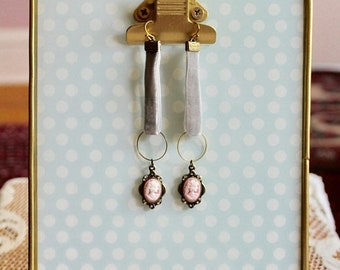 30% OFF SALE Mist grey velvet earrings with brass loops and pink, white, and bronze lady cameos, long earrings, Soft Focus