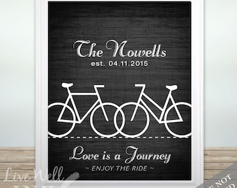 Bike - Bicycle - Cyclist - Triathlon - Bike Love - Custom Name & Date Print - Bike Wedding - Personalized Wedding Gift - Anniversary Gift