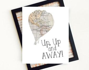Hot Air Balloon Print, Up Up and Away, Hot Air Balloon Nursery, Vintage Map Hot Air Balloon Art, Nursery Wall Art, PRINTABLE Art, 8x10