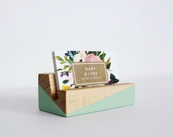 Desk card holder etsy painted wood business card holder business cards wooden recipe card holder office organization reheart Gallery