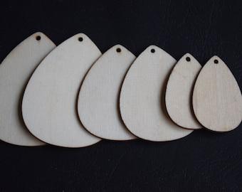 3 sizes   Natural Wood bead Drop wooden beads No Varnish (W1070)