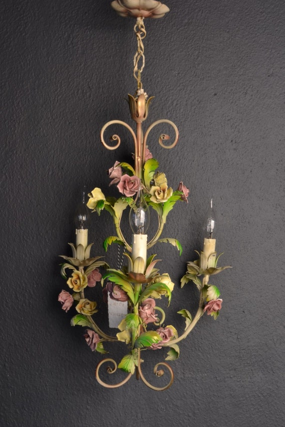 Tole Flower Chandelier with porcelain roses.