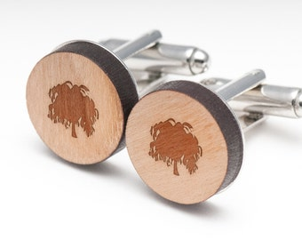 Weeping Willow Wood Cufflinks Gift For Him, Wedding Gifts, Groomsman Gifts, and Personalized