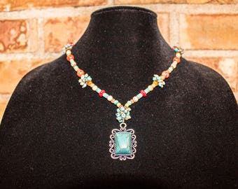 Turquoise Necklace, Turquoise Pendant, Beaded Turquoise Necklace, Faux Turquoise, Turquoise Pendant Necklace, Turquoise and Red, Southwest