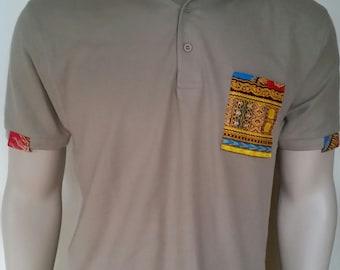 Men Dashiki Polo Khaki with collar and chest pocket (orange and khaki) Black Panther Wakanda Motherdays