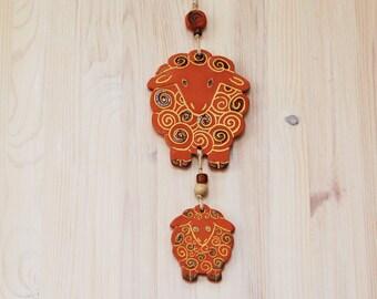 Ceramic Sheep, Terracotta Sheep, Wall Decor, Wall Hangings, Ceramic Ornament, Sheep Ornament, Sheep decor, Lamb Ornament, Gift under 20