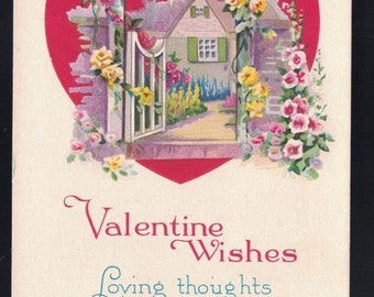 Valentine Wishes House with Open Gate Flowers Vintage Postcard 1110