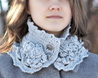 Elegant Rose scarf, gray rose scarf, rose scarf, READY to SHIP, light grey scarf with rose accents, crochet scarf