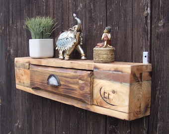 Rustic pallet wall shelf with drawer NOW REDUCED