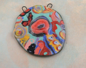 Handmade decal ceramic glazed pendant painterly neckpiece art beads painterly