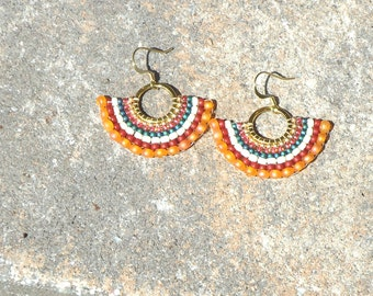 Seed bead earrings, beaded earrings, hoop earrings, hippie, chic, spanish,