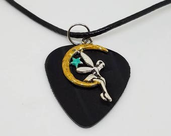 Guitar Pick Necklace - Made from a Vinyl Record- Fairy Moon Star