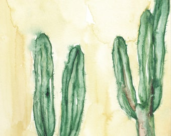 Original 8 x 10 inch watercolor painting of cacti by Meredith O'Neal