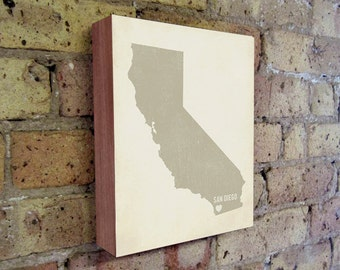 San Diego Art Print - San Diego Art - California Art - San Diego California - I Love San Diego- Wood Block Art Print