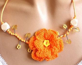 Orange neon flower statement necklace