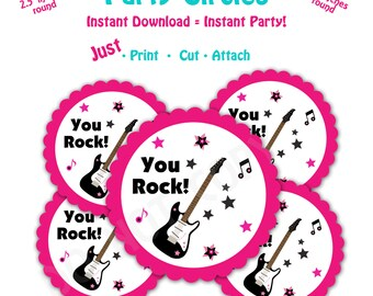 Dance Birthday Party Favor Tags -- Instant Download -  Printable Guitar Favor Tags