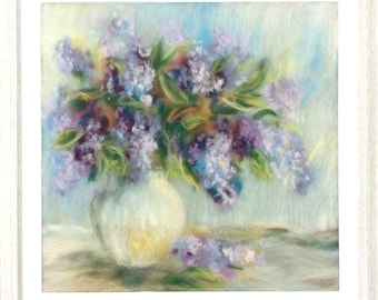 Painting  Wool Watercolor  Art Paintings of wool Wall Art Painting with frame Floral Painting Lilac