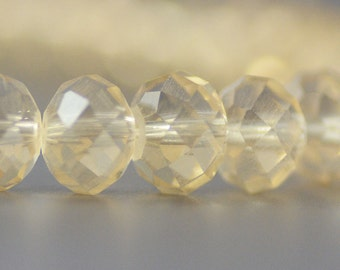 Chinese Crystal Rondelles in Opalite Pale Peach  6x8mm