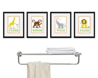 Kids Bathroom Wall Art - Four 8 x 10 Bathroom Jungle Safari Prints. Bathroom Rules -  Wash, Brush, Flush, & Floss, Children's Wall Decor