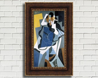 """Juan Gris """"Figure of a Woman"""" Framed Canvas Giclee Print (MD804-80 Bronze Finish with Gold Beading) - Free Shipping"""