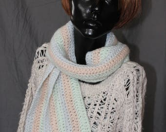 Crocheted Pastel Striped Scarf