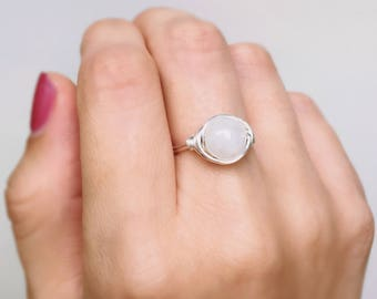 Moonstone Wire Wrapped Ring, Moonstone Ring, Crystal ring, Gemstone ring, Sterling silver ring, White stone ring, Silver ring, Boho ring