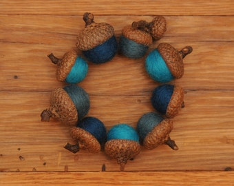 Blue Felted Acorn Ornaments, Set of 9, also available without hangers