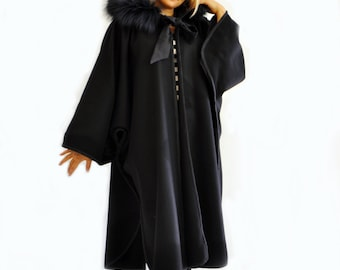 Woman black wool cape/Fur fox hooded black cape/Black long coat/Handmade wool Cape/Oversize black coat/Woman wool cape cloak/C1268
