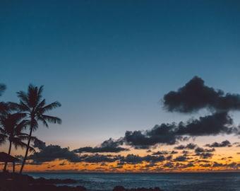Blue Hawaiian Sunset Silhouette // Hawaii Photography // Mounted Photo Print