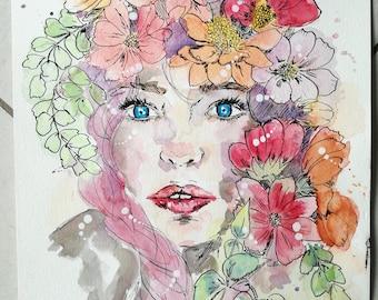 Watercolor original and unique woman