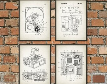 Computer Geek Wall Art Poster Set of 4 No.2 - Computer Room Home Decor - IT Student Gift Idea - Dorm Room Decor - Computer Science Art Print & Geek wall art | Etsy