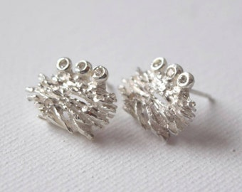 Diamond Earrings Inspired by Nature, Gift Ready, Texture Earrings