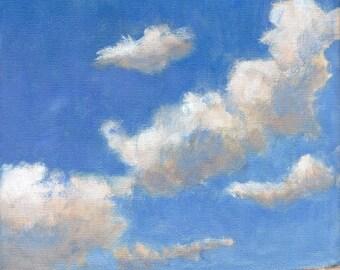 Clouds - Sky Landscape Painting 8x8 Original Painting on Canvas Blue Cumulus Cloud