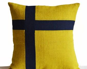 Burlap Pillow Cover, Nautical Pillow, Oceanic Pillow, Yellow Navy Pillow, Swizz Cross Pillow, Dorm Gift, Mother's Day Gifts, Dorm Pillow