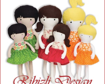 Doll Sewing Pattern 12 inch and 16 inch size Three different hairstyles