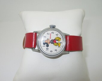 """Vintage 1950's Walt Disney Productions Mickey Mouse Wrist Watch Original Red Band 