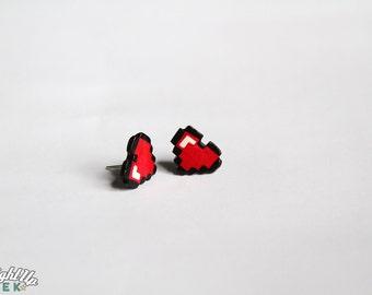 Nerd Couples Pixel Heart Earrings Geek Gift 8 Bit