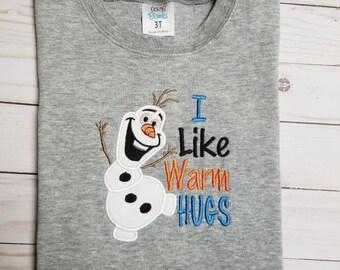 Olaf I Like Warm Hugs Embroidered Shirt